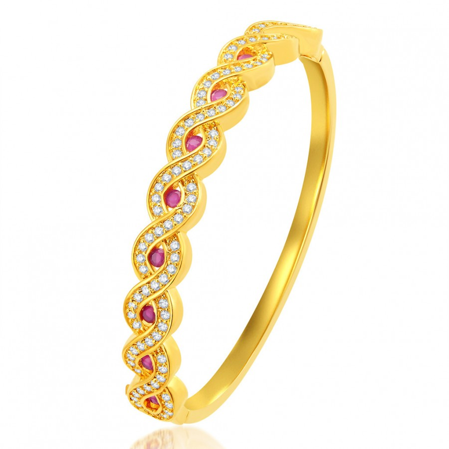 Buy Pissara Shimmering Gold Plated CZ Kada Online