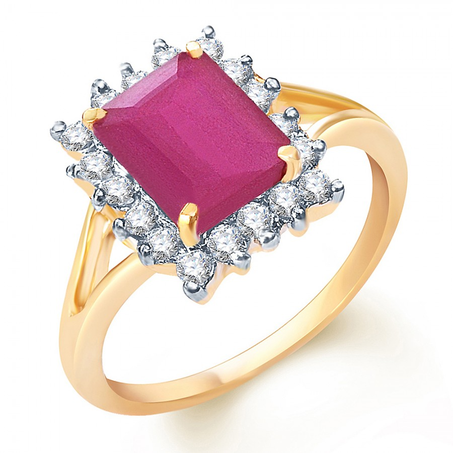 Buy Sukkhi Estonish Gold and Rodium plated CZ Studded Ruby Ring Online