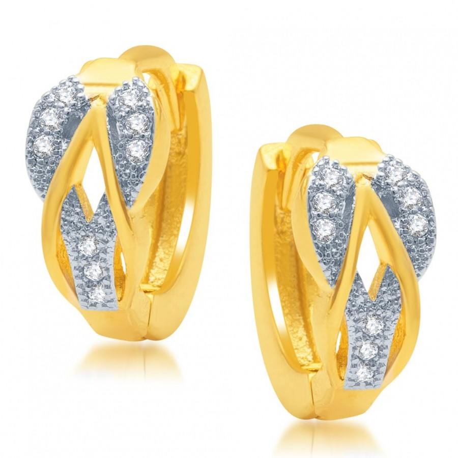 Buy Pissara Intricately Gold and Rhodium Plated Micro Pave CZ Earrings Online