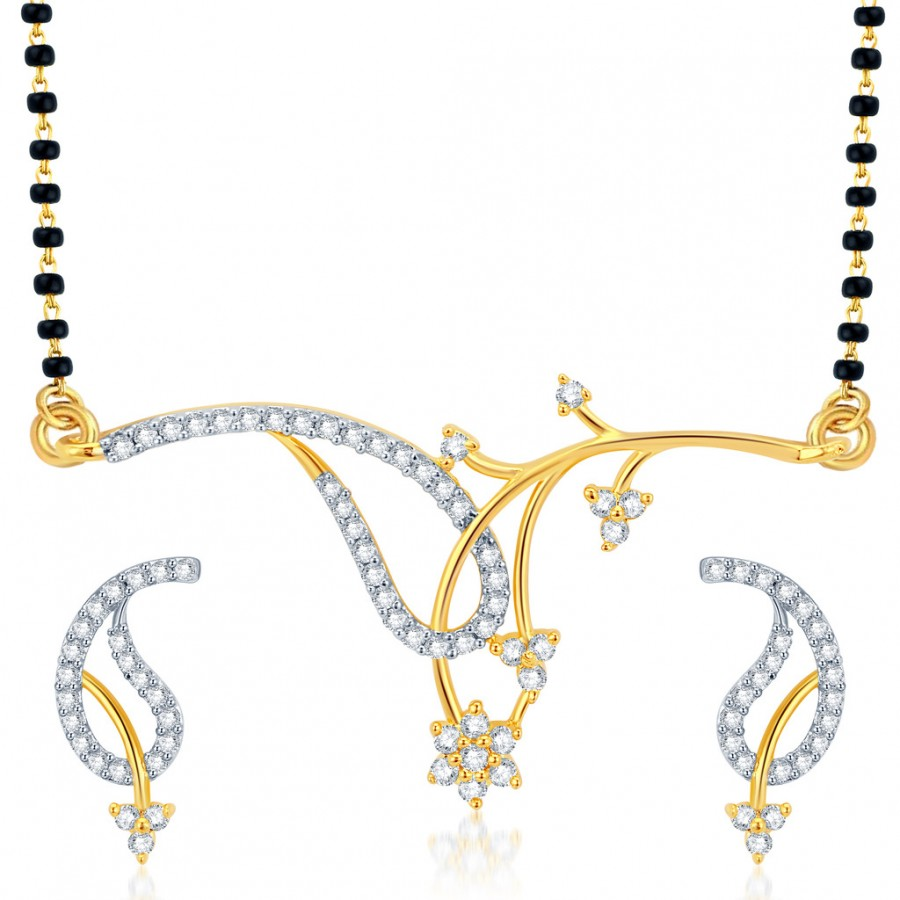Buy Pissara Exotic Gold and Rhodium Plated CZ Mangalsutra Set Online