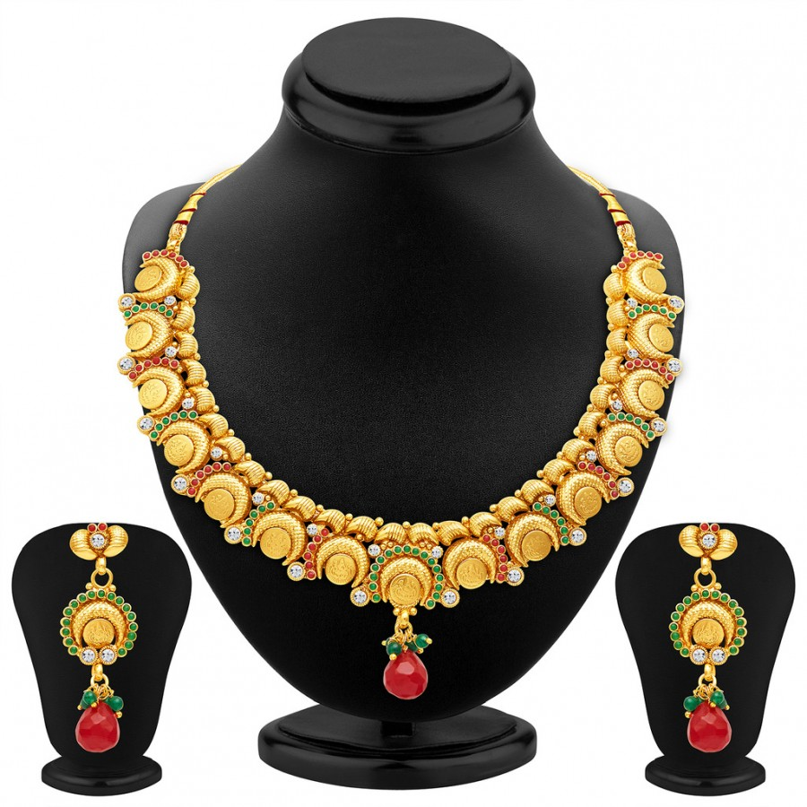 Buy Sukkhi Ritzy Gold Plated Temple Jewellery Necklace Set Online