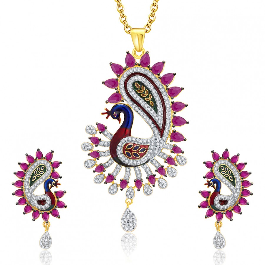 Buy Pissara Splendid Peacock Gold And Rhodium Plated Ruby CZ Pendant Set For Women Online