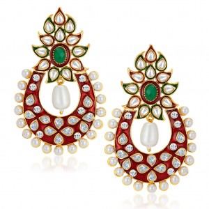 Buy Sukkhi Designer Gold Plated Australian Diamond Earrings Online