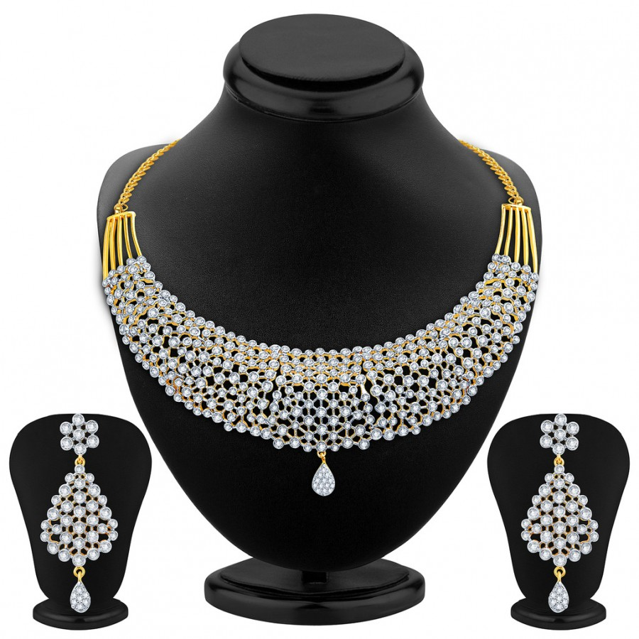 Buy Pissara Sleek Gold Plated CZ Necklace Set Online