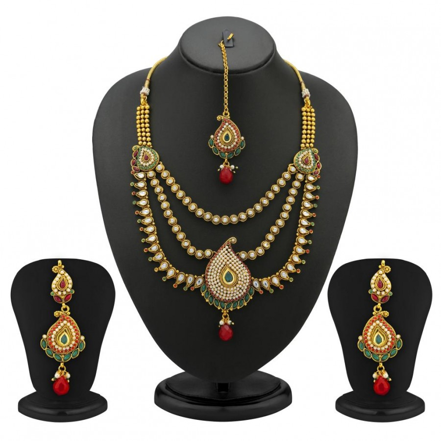 Buy Sukkhi Mango Design 3 String Gold Plated Antique Necklace Set Online