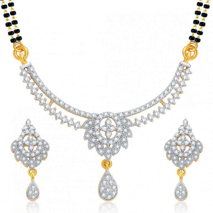 Buy Pissara Excellent Gold and Rhodium Plated CZ Mangalsutra Set For Women Online