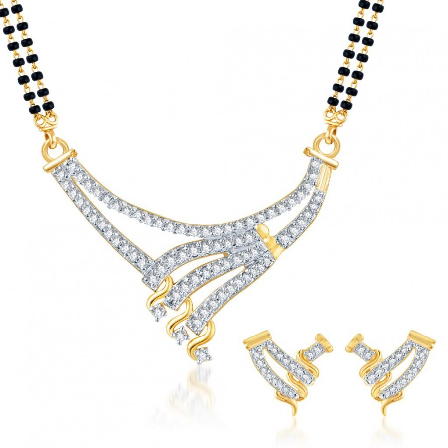 Buy Pissara Bewitching CZ Gold and Rhodium Plated Mangalsutra Set Online