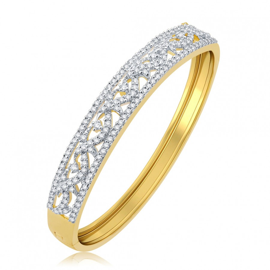 Buy Pissara Engaging Gold And Rhodium Plated CZ Kada For Women Online
