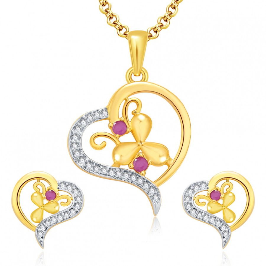 Buy Pissara Precious Gold And Rhodium Plated Ruby CZ Pendant Set For Women Online