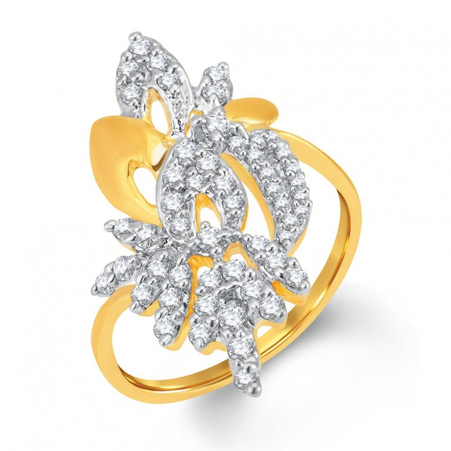 Buy Pissara Ravishing Gold and Rhodium Plated Cubic Zirconia Ring Online