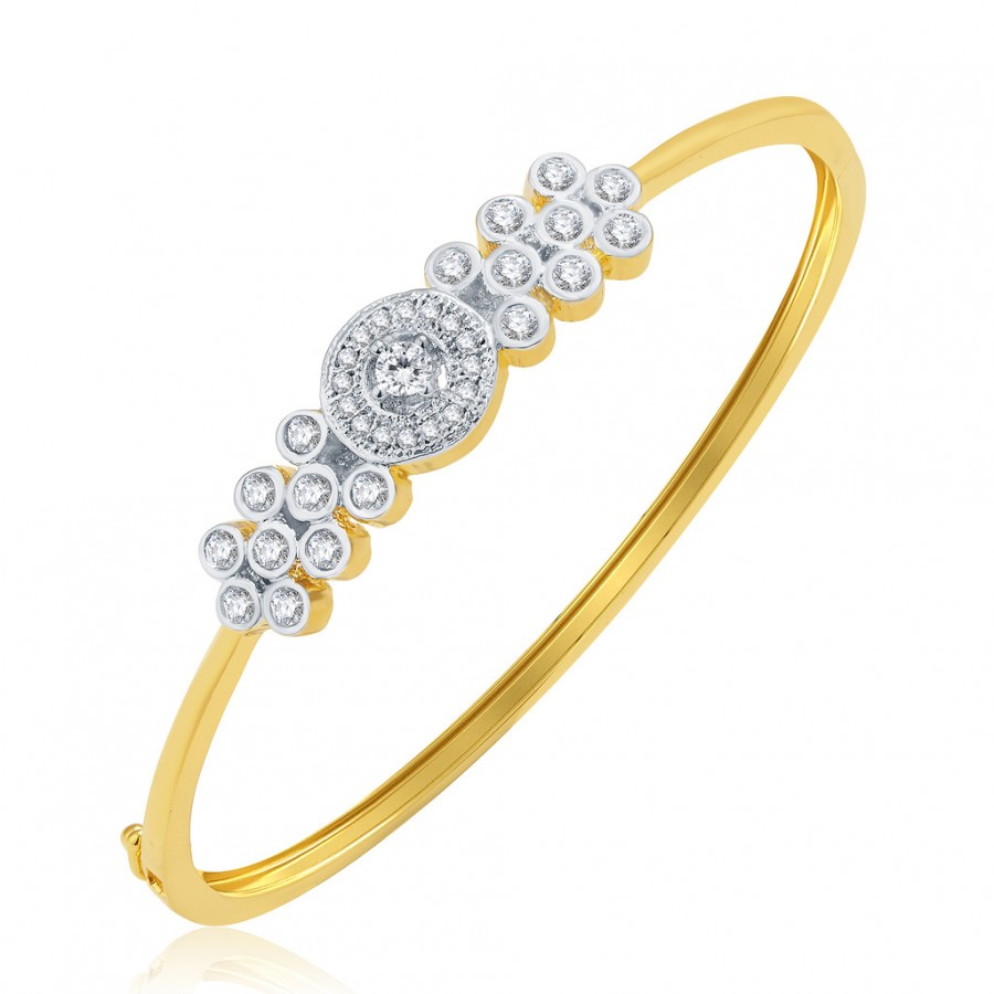 Buy Pissara Vibrant Gold And Rhodium Plated CZ Kada For Women Online