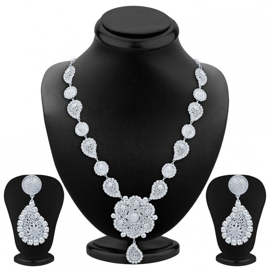Buy Sukkhi Marquise Rhodium Plated AD Necklace Set Online