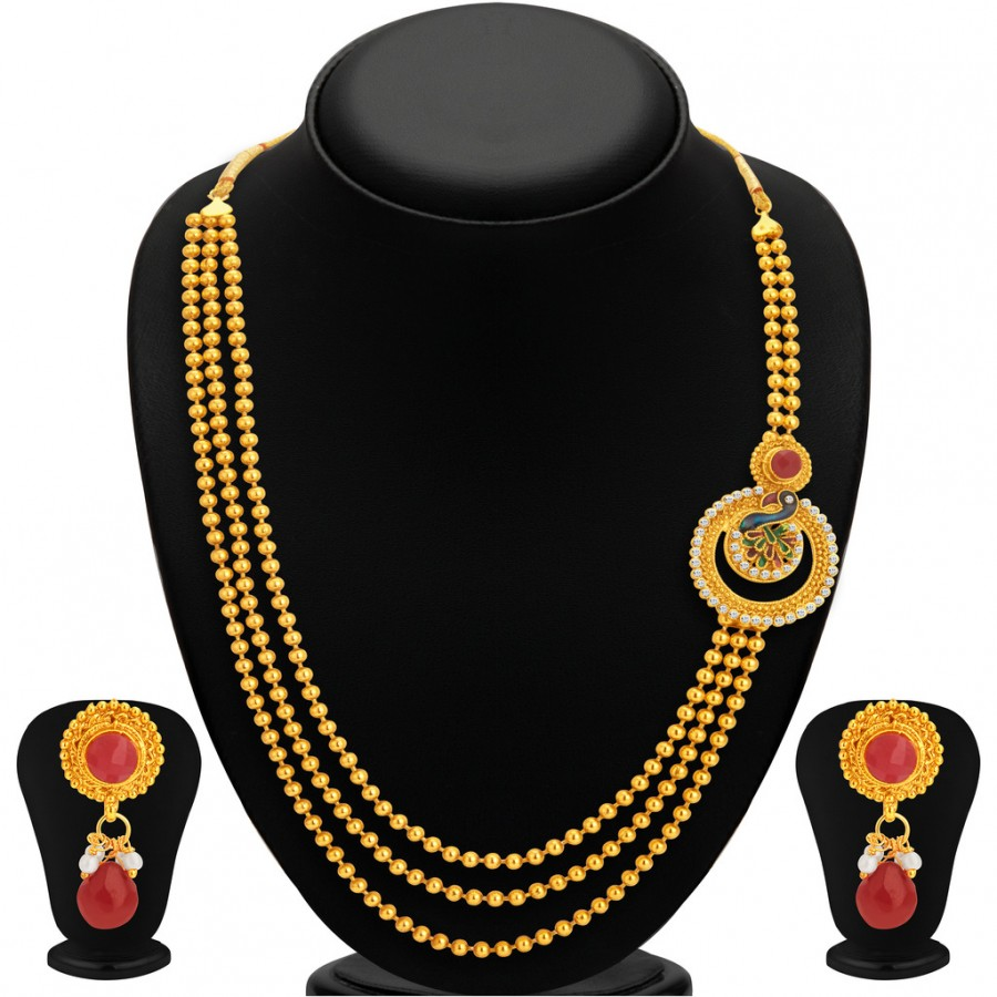 Buy Sukkhi Lavish Pecock Gold Plated Necklace Set For Women Online