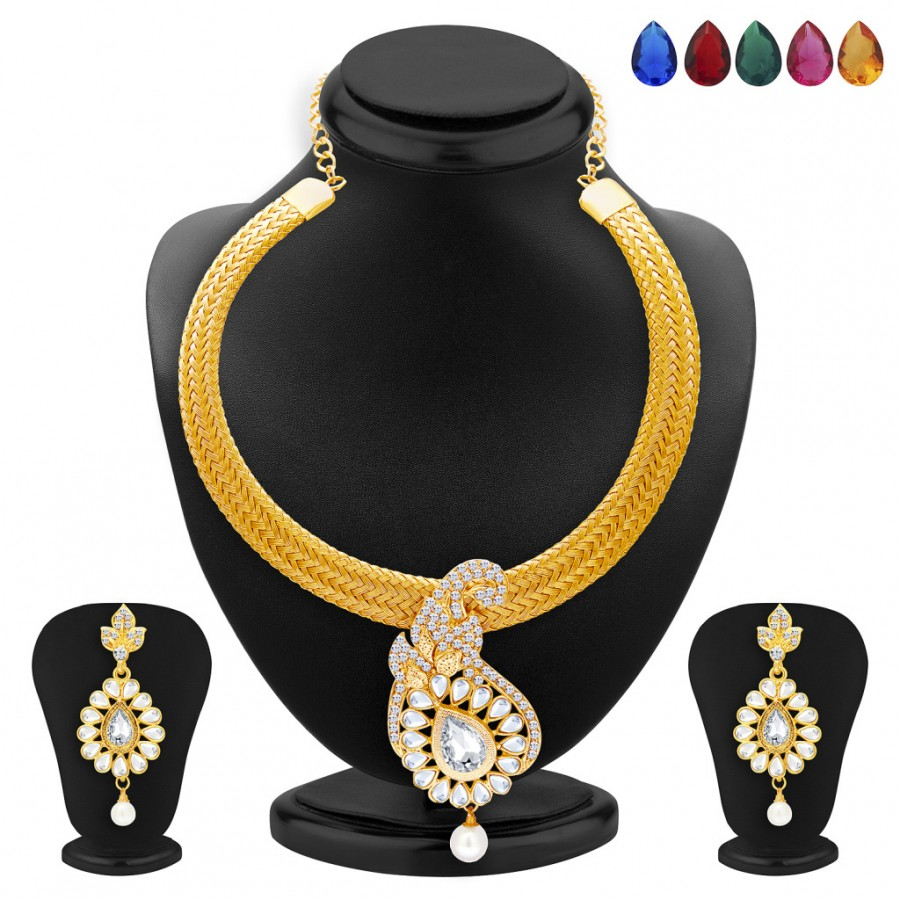 Buy Sukkhi Elegant Gold Plated AD and Kundan Necklace Set with Set of 5 Changeable Stone For Women Online