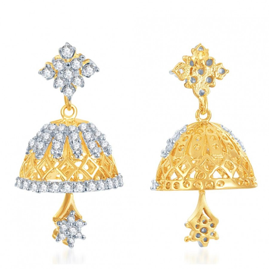 Buy Pissara Marvellous Gold and Rhodium Plated CZ Jhumki Online