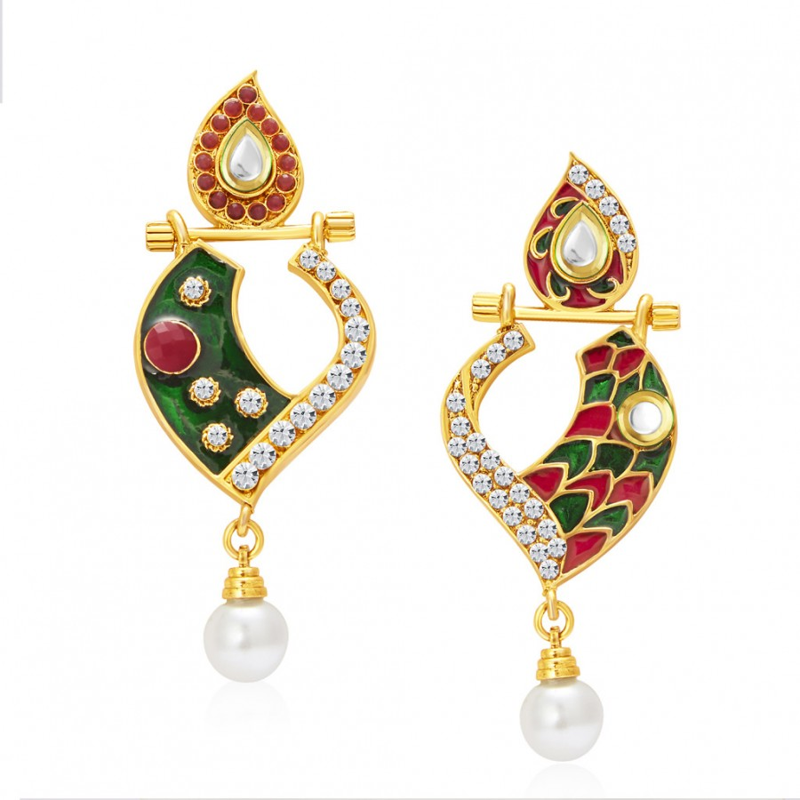 Buy Sukkhi Fabulous Gold Plated AD Reversible Earring For Women Online