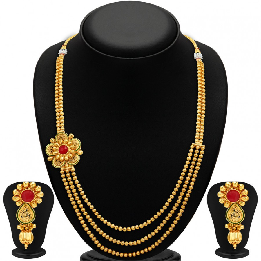 Buy Sukkhi Stylish Three Strings Gold Plated Necklace Set Online