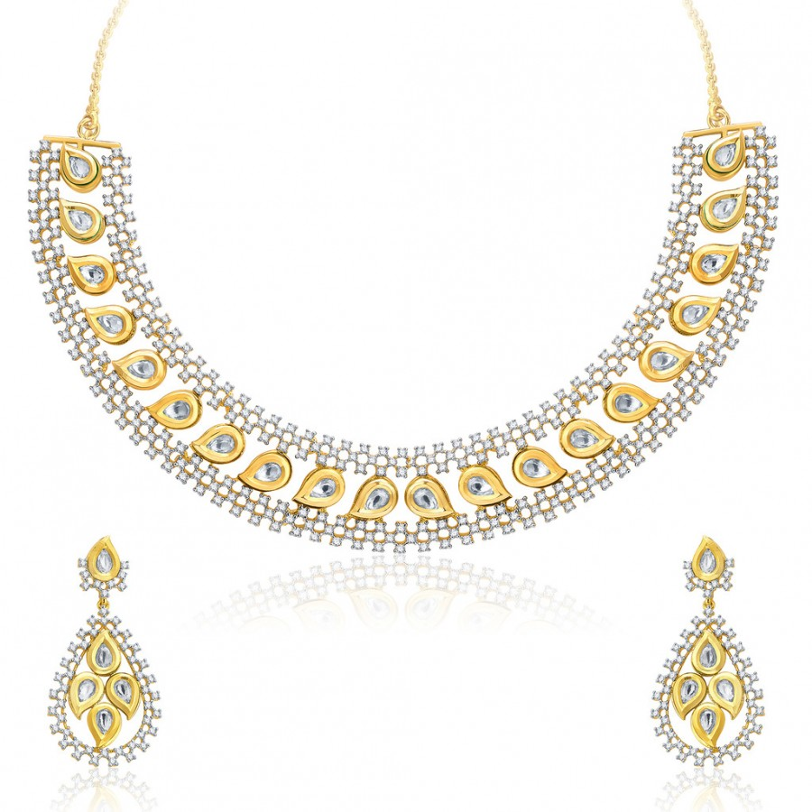 Buy Pissara Fiery Gold And Rhodium Plated CZ Kundan Neklace Set For Women Online