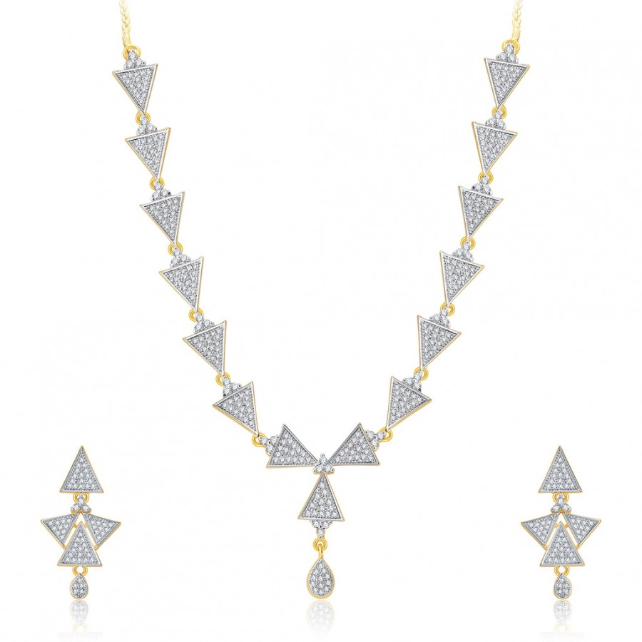 Buy Pissara Trendy Gold And Rhodium Plated CZ Neklace Set For Women Online