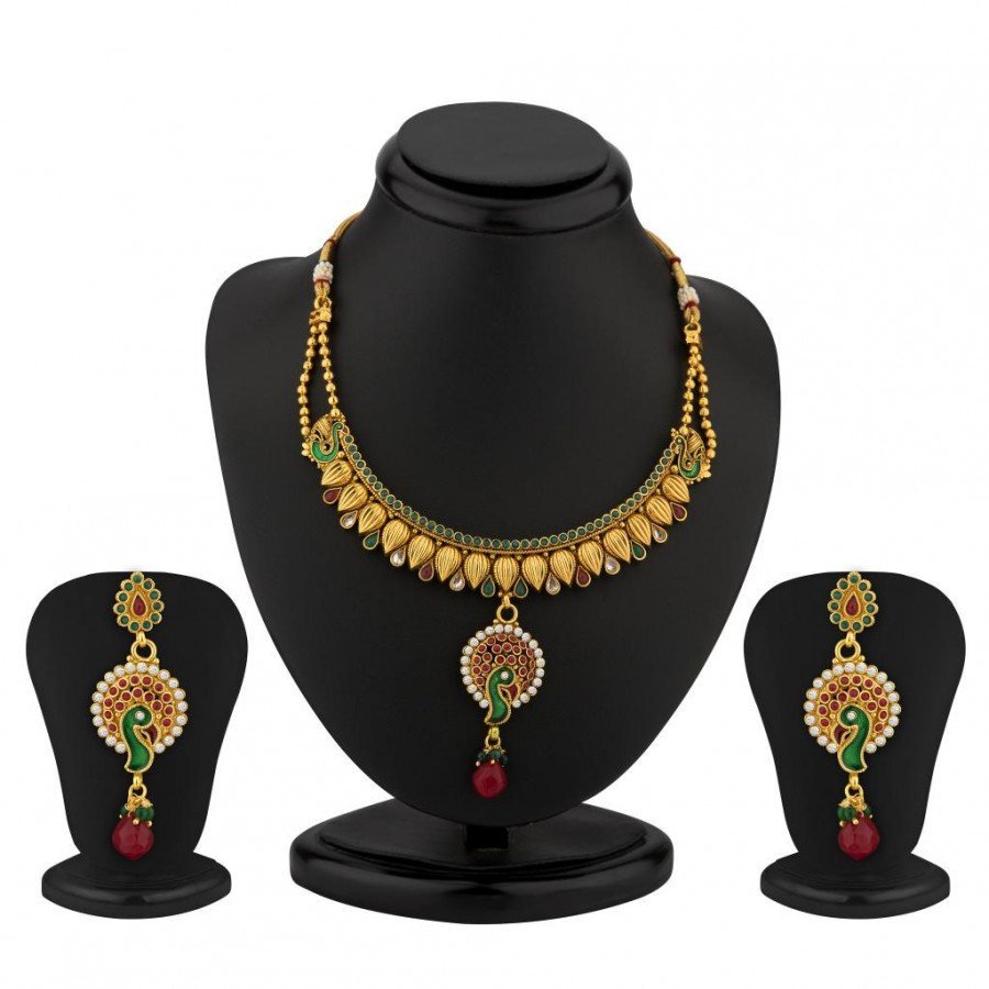Buy Sukkhi Peacock Gold Plated Antique Necklace Set Online