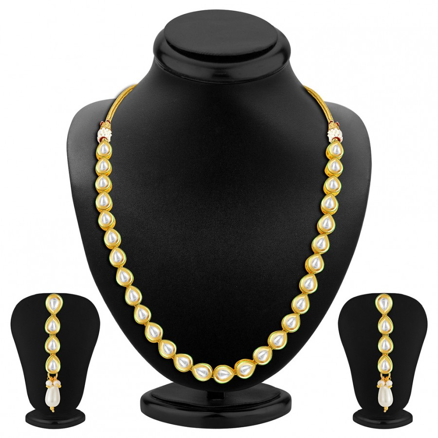Buy Sukkhi Divine Single String Gold Plated Kundan Necklace Set Online