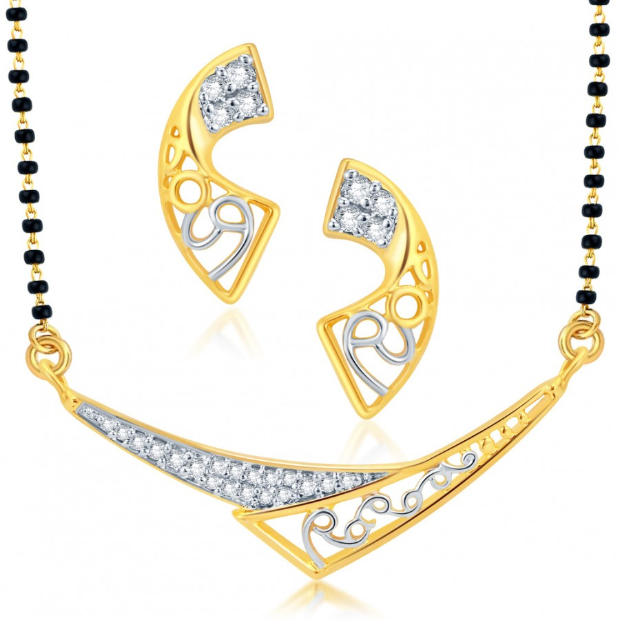 Buy Pissara Attractive Gold and Rhodium Plated CZ Mangalsutra Set Online