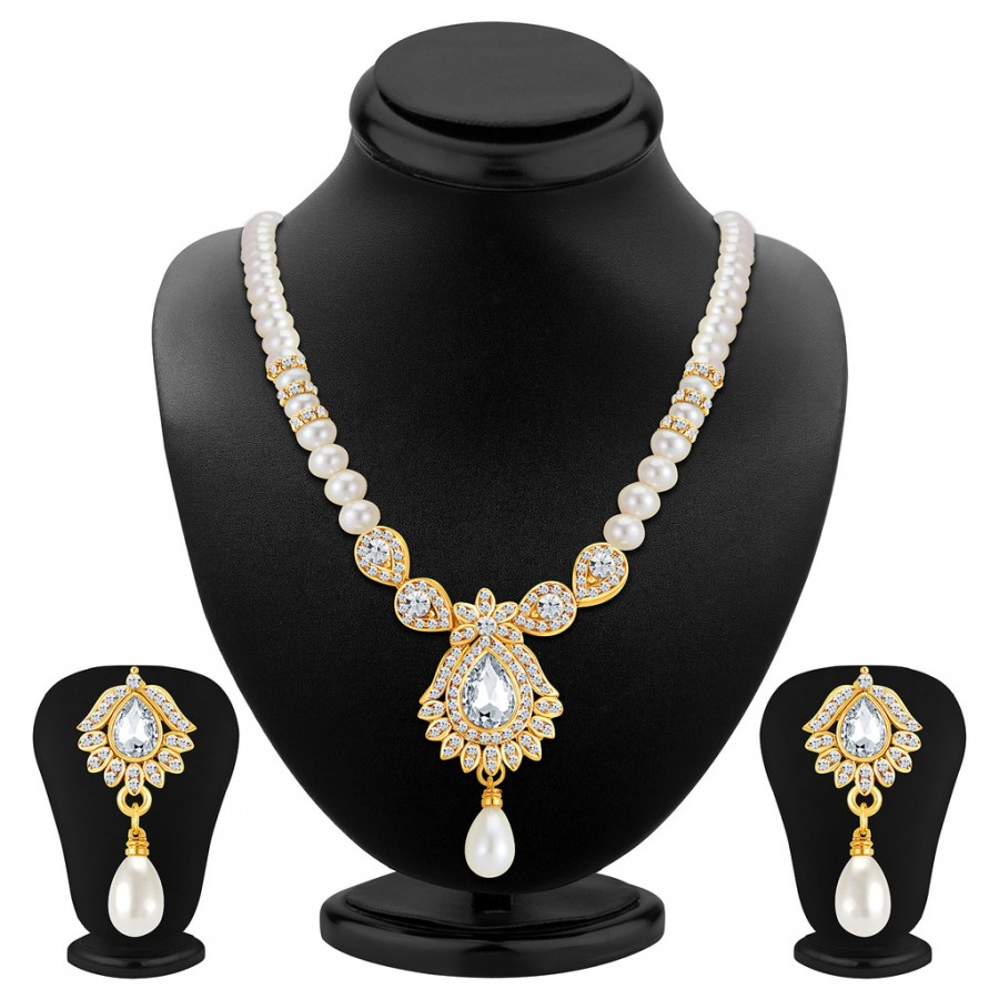 Buy Sukkhi Ritzy Gold Plated AD Necklace Set Online