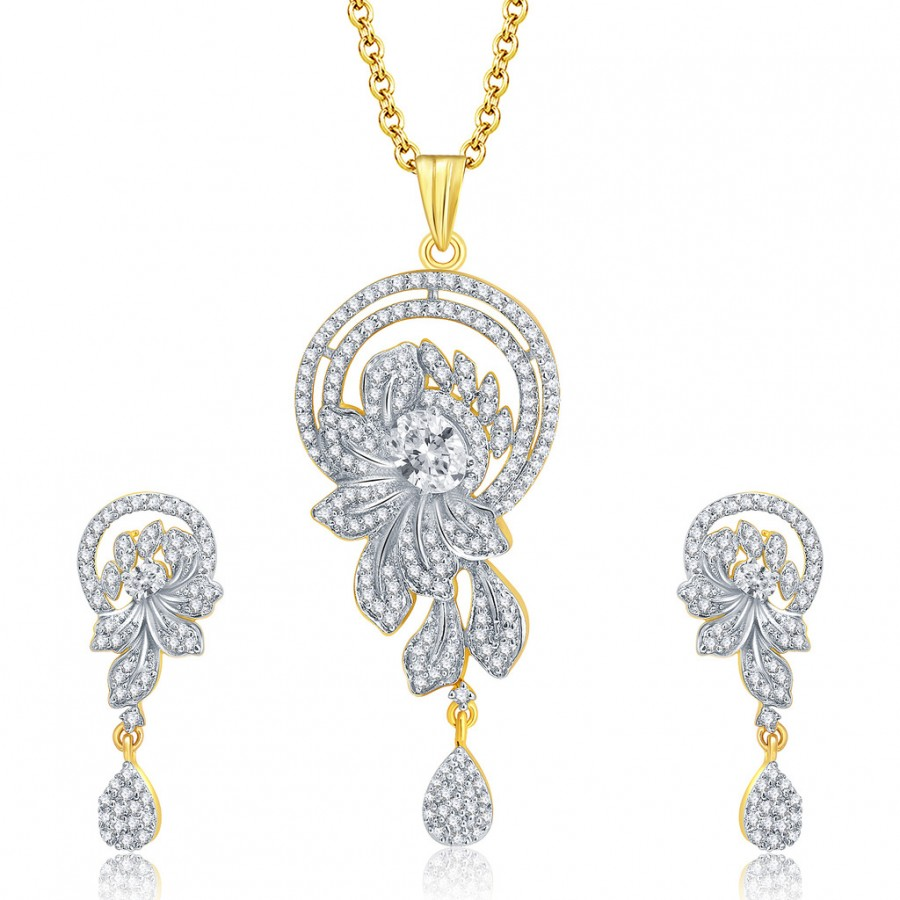 Buy Pissara Dapper Gold And Rhodium Plated CZ Pendant Set For Women Online