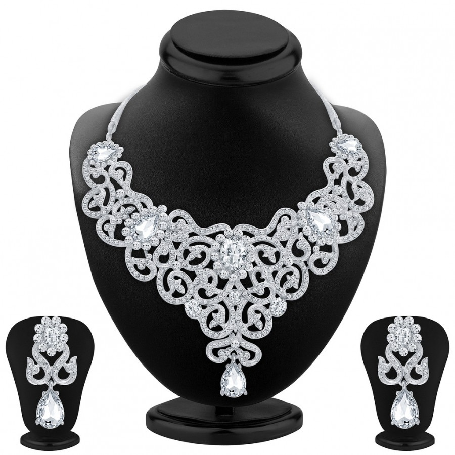 Buy Sukkhi Sleek Rhodium Plated AD Necklace Set For Women Online
