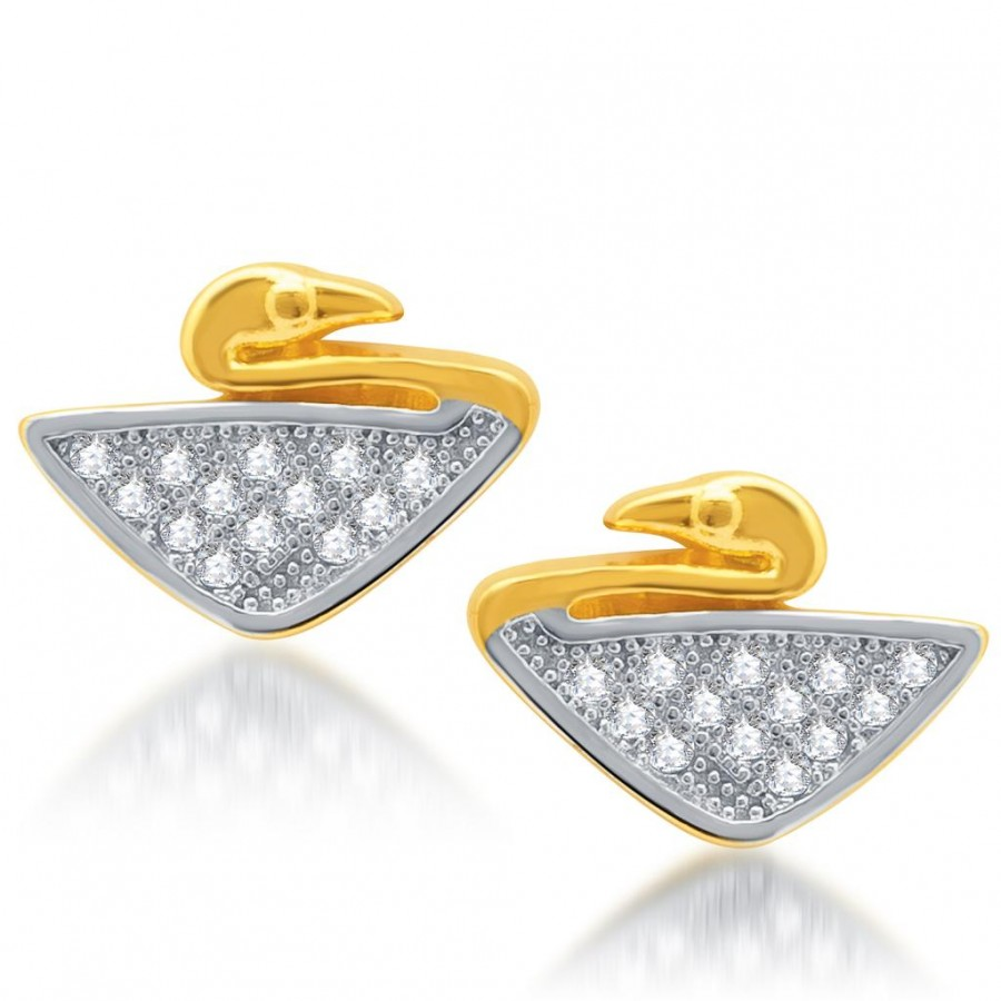 Buy Pissara Modern Gold and Rhodium Plated Micro Pave CZ Earrings Online