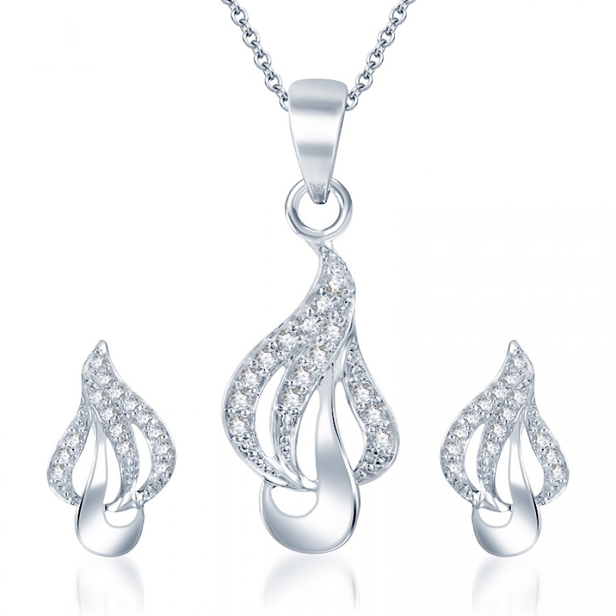 Buy Pissara Glamorous Rodium plated CZ Pendant Set Online