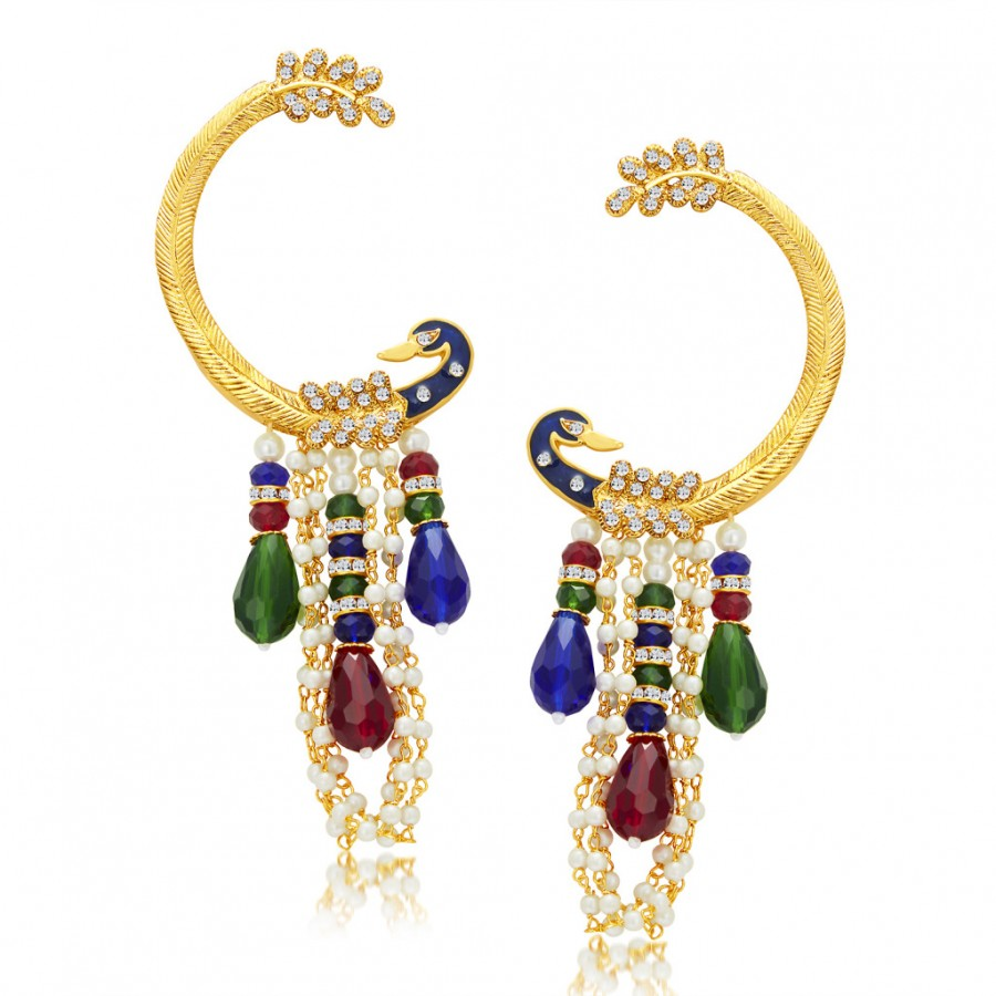 Buy Sukkhi Shimmering Peacock Gold Plated Pearl Earcuff For Women Online