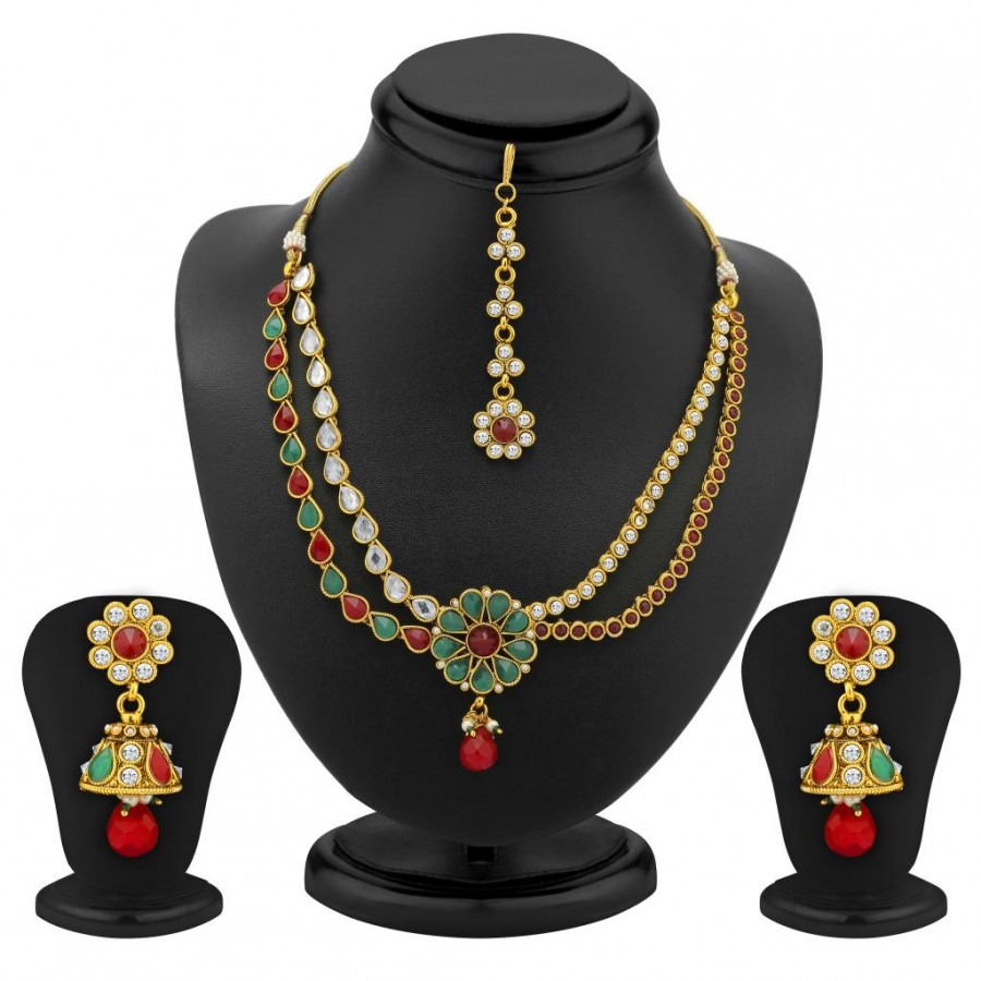 Buy Sukkhi 2 Strings Gold Plated AD, Ruby and Emerald Antique Necklace Set Online