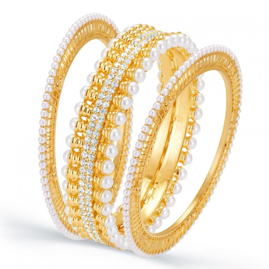 Buy Sukkhi Wavy Gold Plated AD Moti Set of Three Kada for Women Online