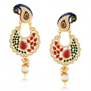 Buy Sukkhi Elegant Peacock Gold Plated Australian Diamond Earrings Online