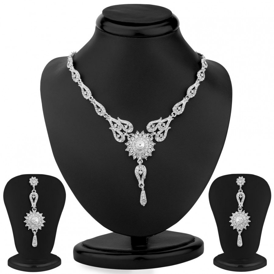 Buy Sukkhi Stylish Rhodium Plated Australian Diamond Necklace Set Online