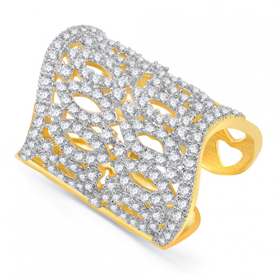 Buy Pissara Distinctive Gold And Rhodium Plated CZ Ring For Women Online