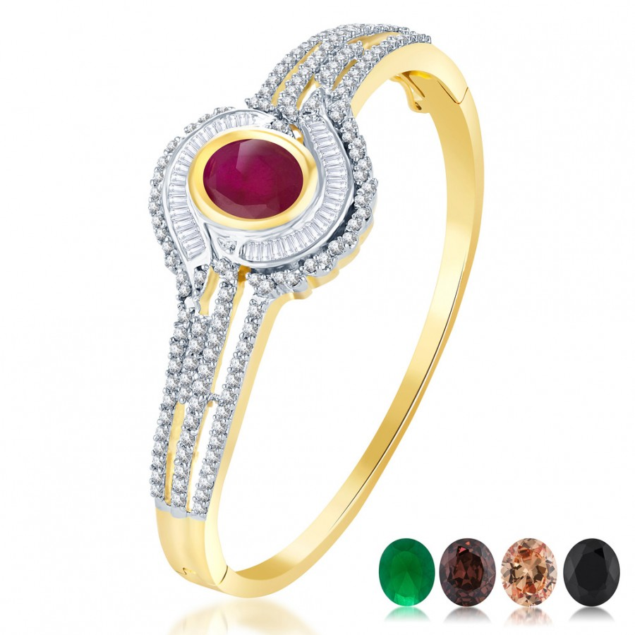 Buy Pissara Appealing Gold and Rodium plated 4 set of Changeable CZ Stone Kada Online