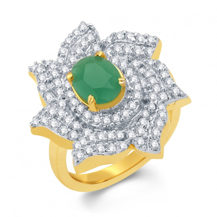 Buy Pissara Adorable Gold And Rhodium Plated Emerald CZ Ring For Women Online
