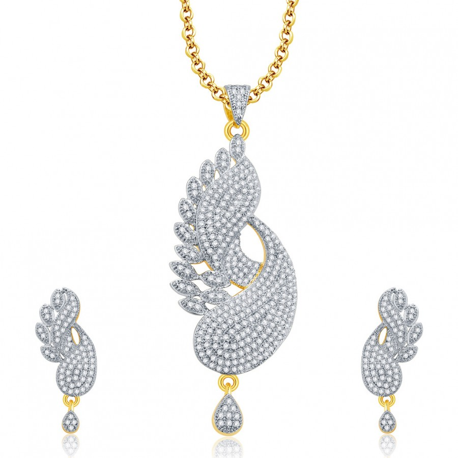 Buy Pissara Lavish Gold And Rhodium Plated CZ Pendant Set For Women Online