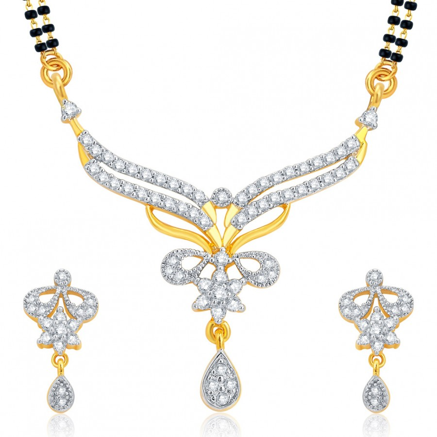 Buy Pissara Finely Gold and Rhodium Plated CZ Mangalsutra Set For Women Online