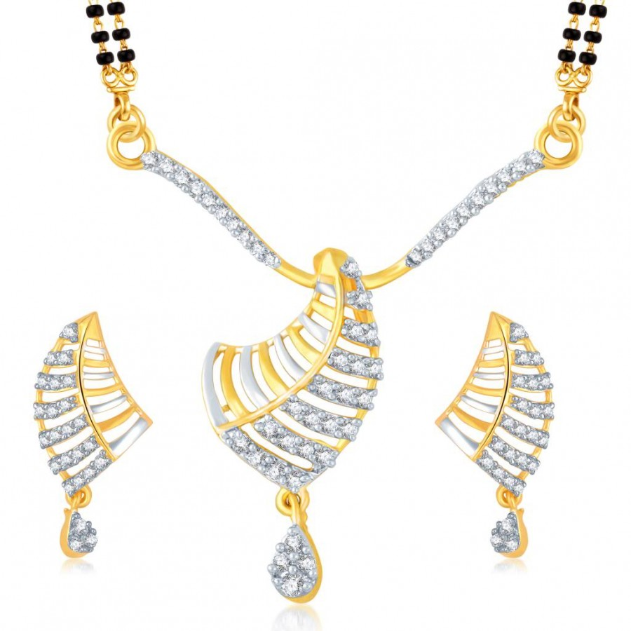 Buy Pissara Splendid Gold and Rhodium Plated Cubic Zirconia Stone Studded Mangalsutra Set Online
