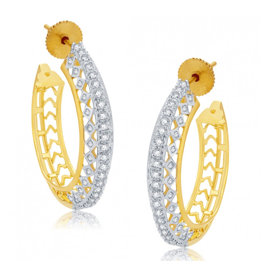 Buy Pissara Encrusted Gold And Rhodium Plated CZ Hoops For Women Online