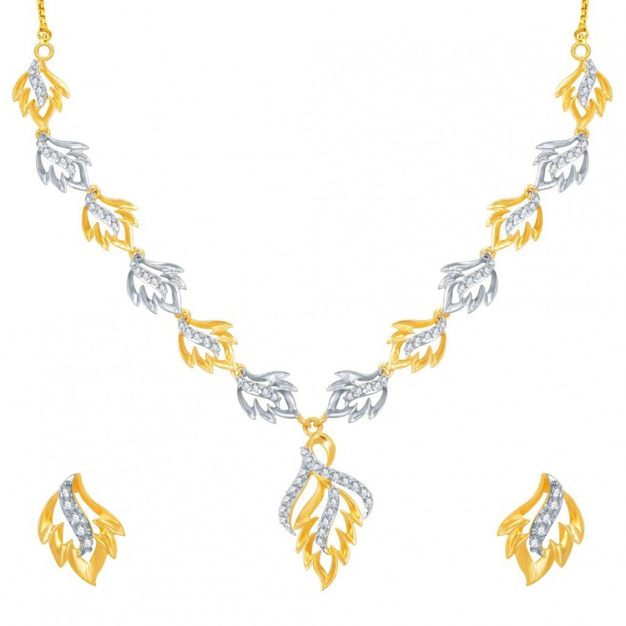Buy Pissara Moddish Gold and Rhodium Plated CZ Necklace Set Online