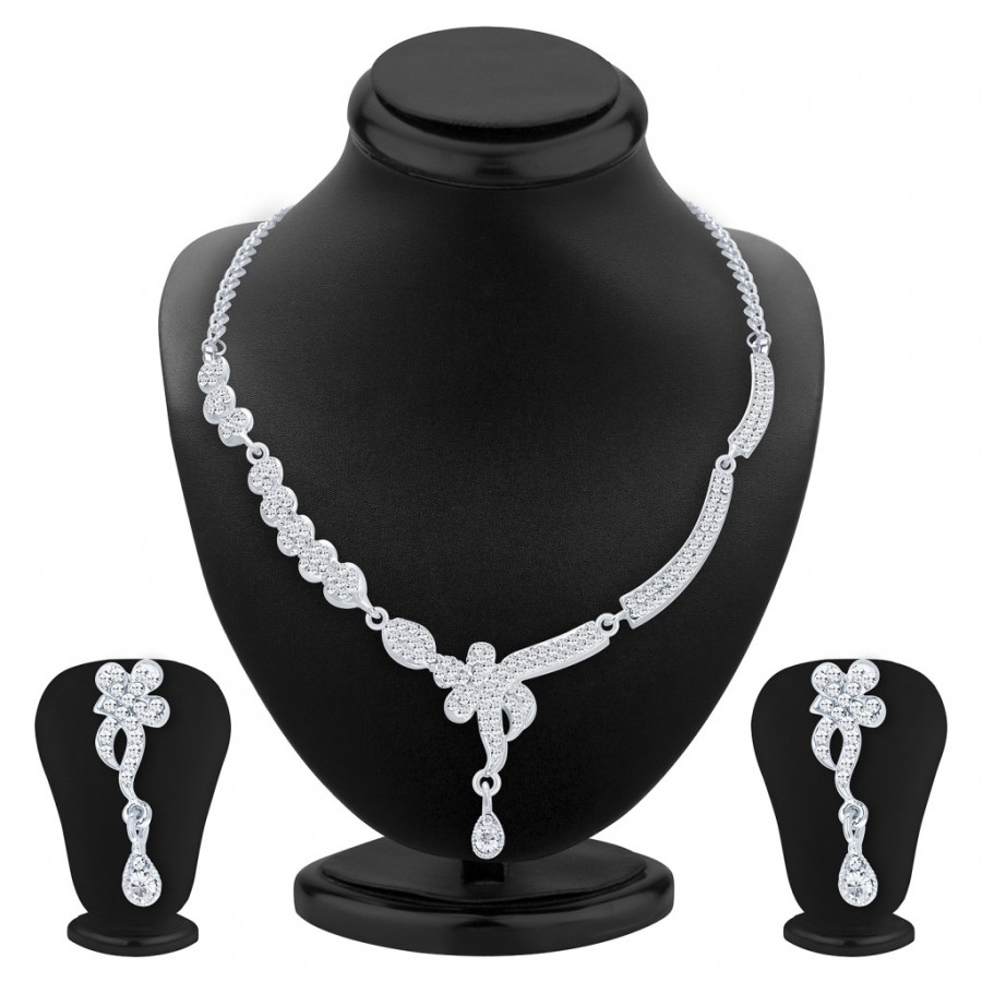 Buy Sukkhi Appealing Rhodium Plated AD Necklace Set For Women Online