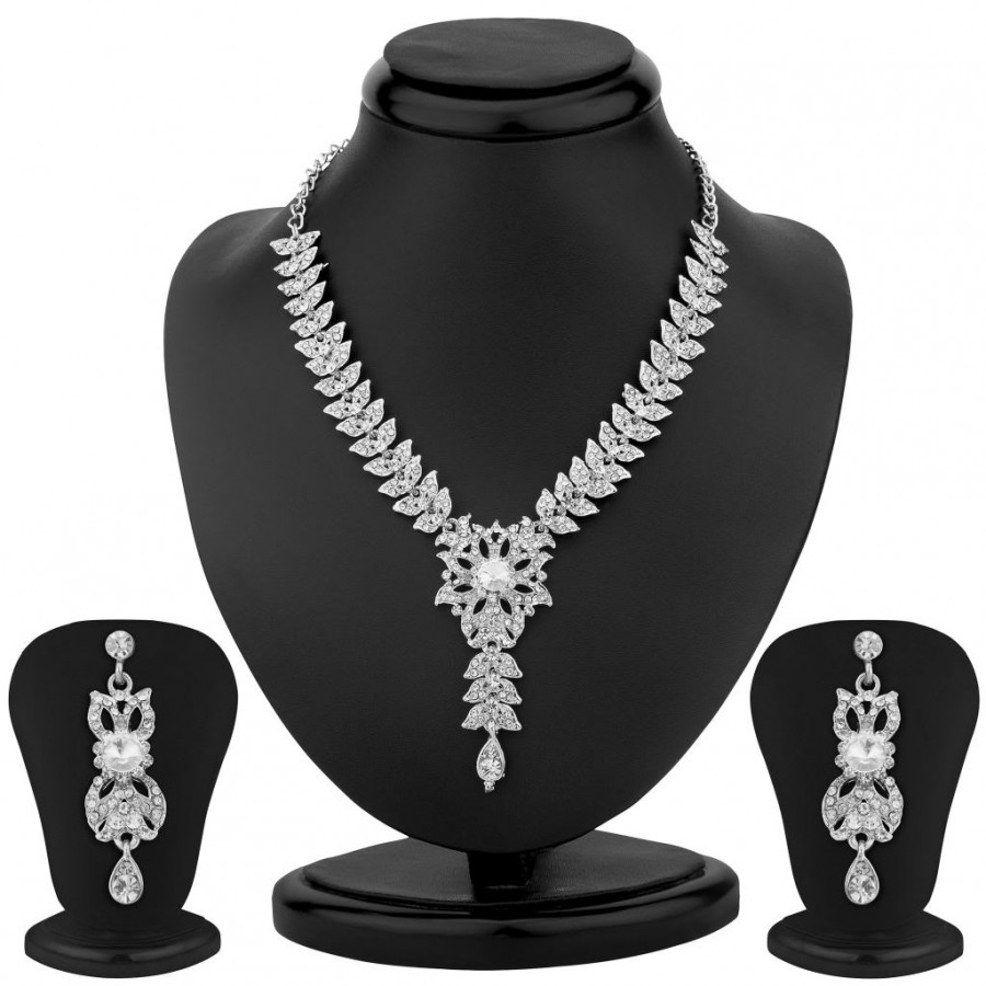 Buy Sukkhi Bewitching Rhodium Plated Australian Diamond Necklace Set Online