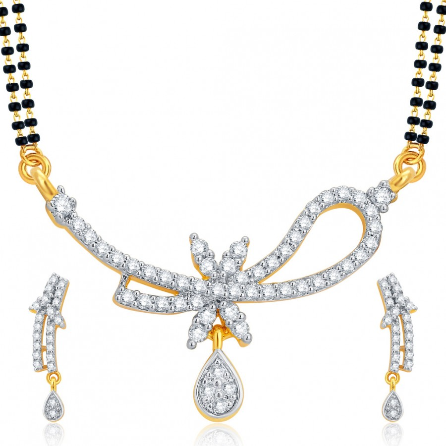 Buy Pissara Marquise Gold and Rhodium Plated CZ Mangalsutra Set For Women Online