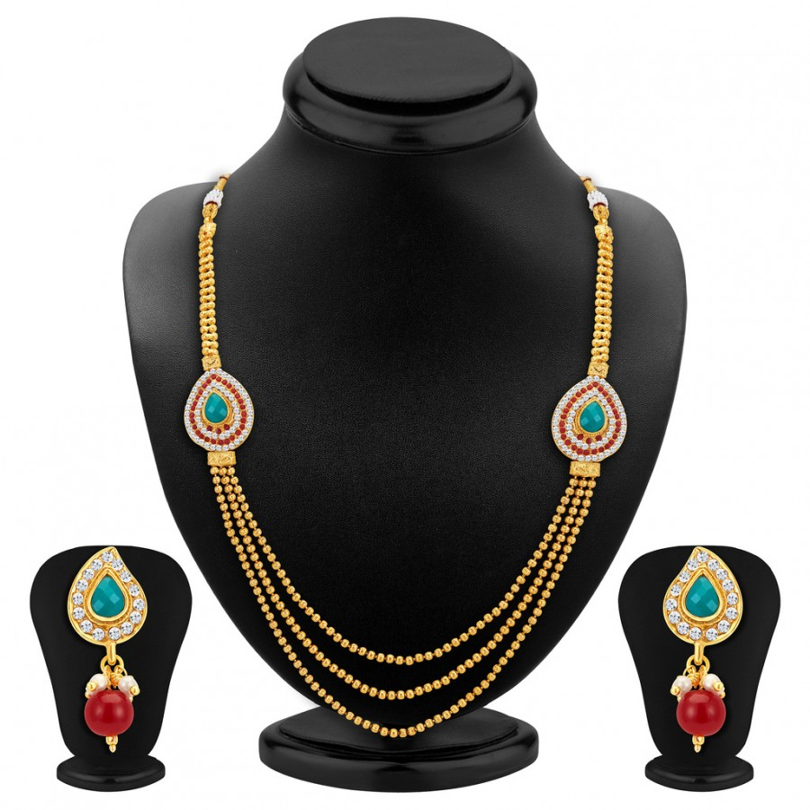 Buy Sukkhi Attractive Three Strings Gold Plated Necklace Set Online