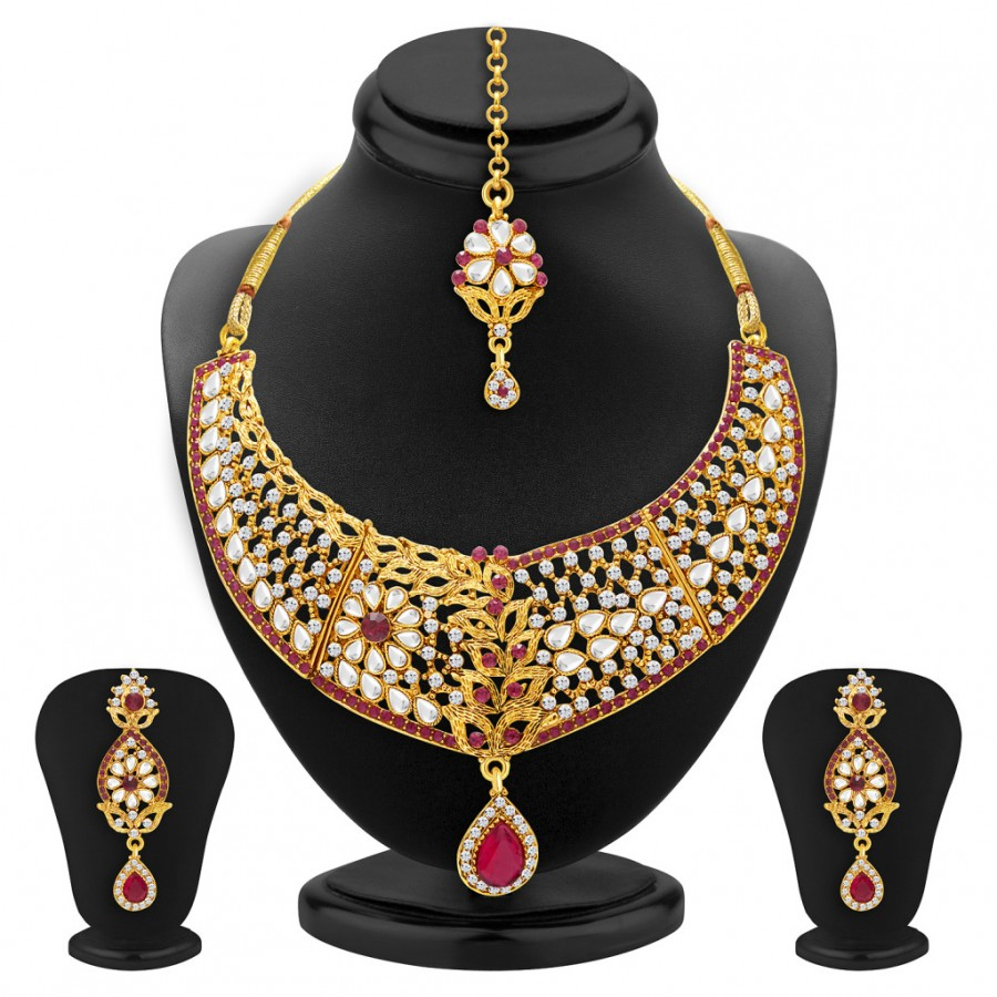 Buy Sukkhi Sparkling Gold Plated AD and Kundan Necklace Set For Women Online