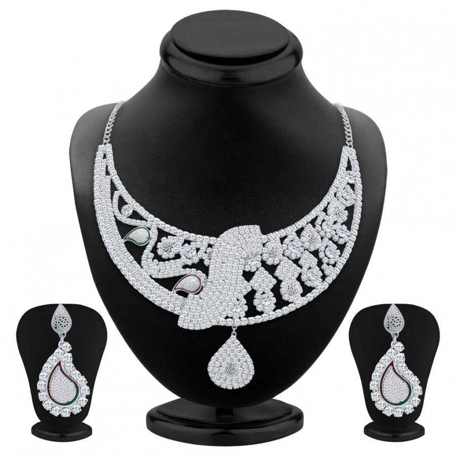 Buy Sukkhi Ritzy Rhodium Plated AD Necklace Set For Women Online